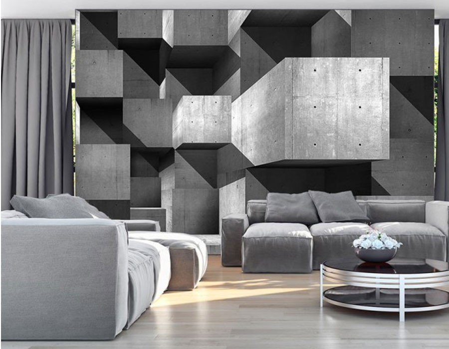 papier peint panoramique design gris. Black Bedroom Furniture Sets. Home Design Ideas