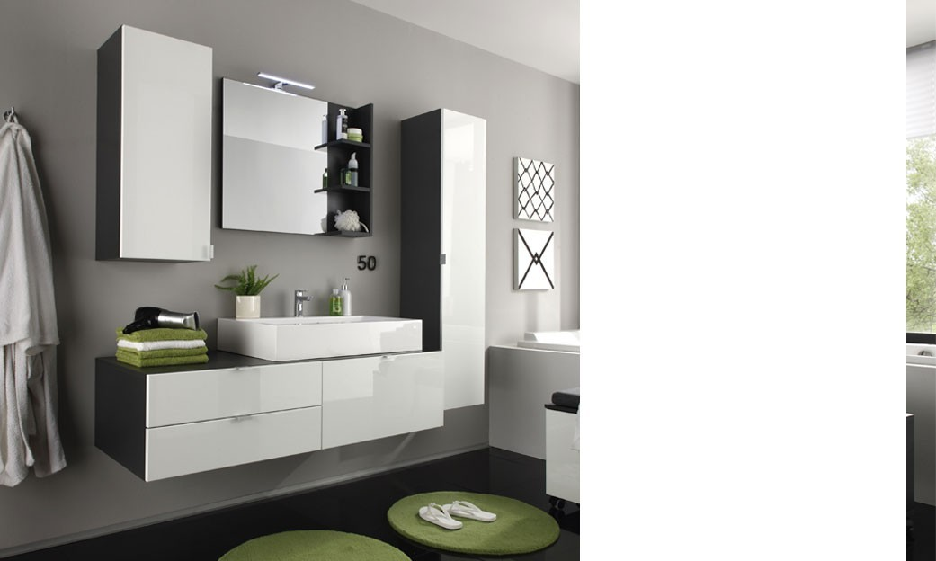 ensemble meubles salle de bain gris et blanc brillant splash. Black Bedroom Furniture Sets. Home Design Ideas