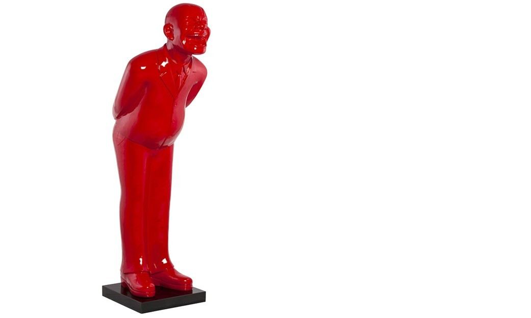 Statue grande taille homme qui rit rouge WELCOME