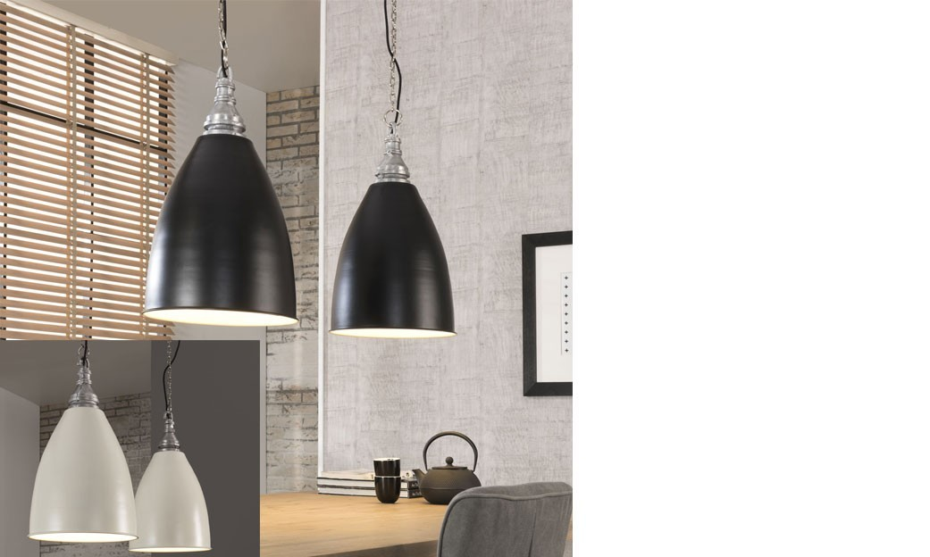 Suspension industrielle noire ou blanche en zinc crios - Suspension industrielle noire ...