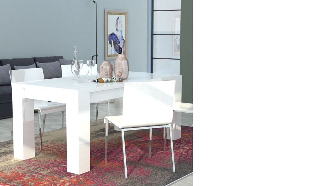 Table manger extensible blanc laqu design betty for Table laque 8 places