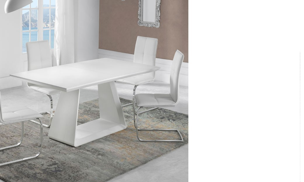 Table salle a manger extensible design blanc mat TENDA
