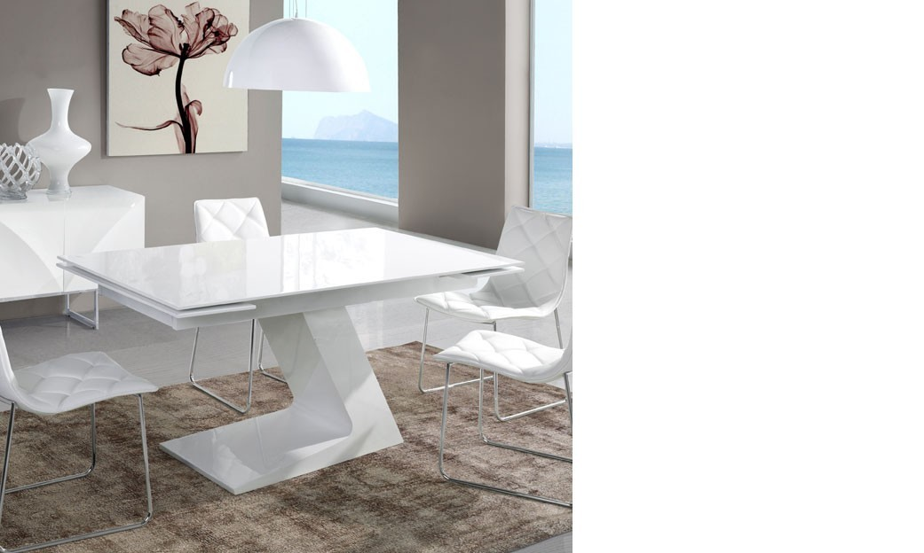 Table salle a manger extensible design blanc laqu zag for Table laque 8 places