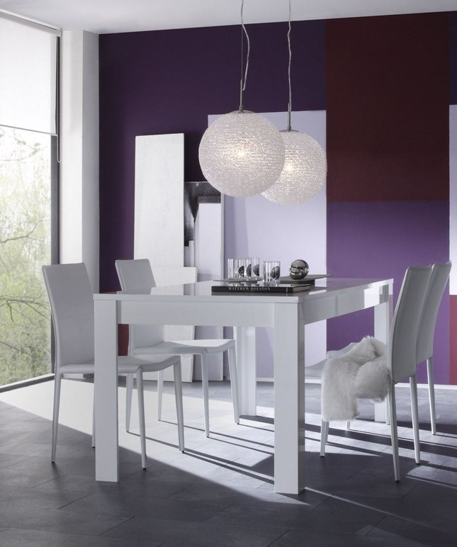 Table a manger laque blanc elios zd1 tab r d 031 - Table design salle a manger ...