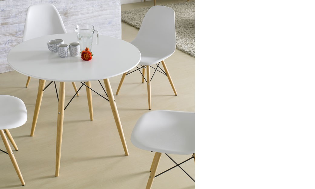 Table salle a manger bois ronde for Table a manger bois blanc