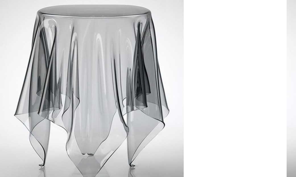 Table d'appoint design ELFIE, en polycarbonate transparent