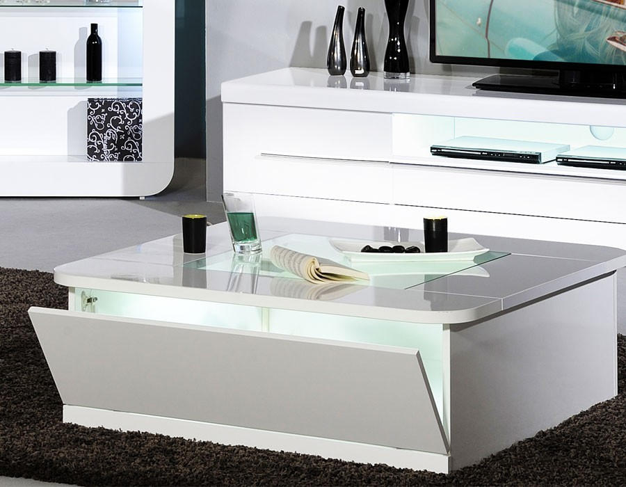 Table basse design a led blanc laque apollon for Table carree extensible blanc laque