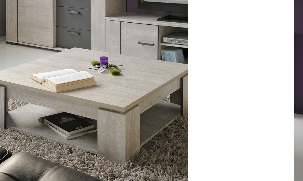 Table basse carrée contemporaine couleur bois gris PAULINE