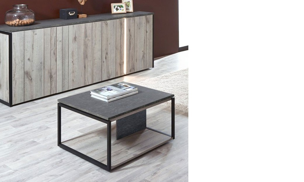 table basse carr e industrielle ch ne gris et marbre. Black Bedroom Furniture Sets. Home Design Ideas