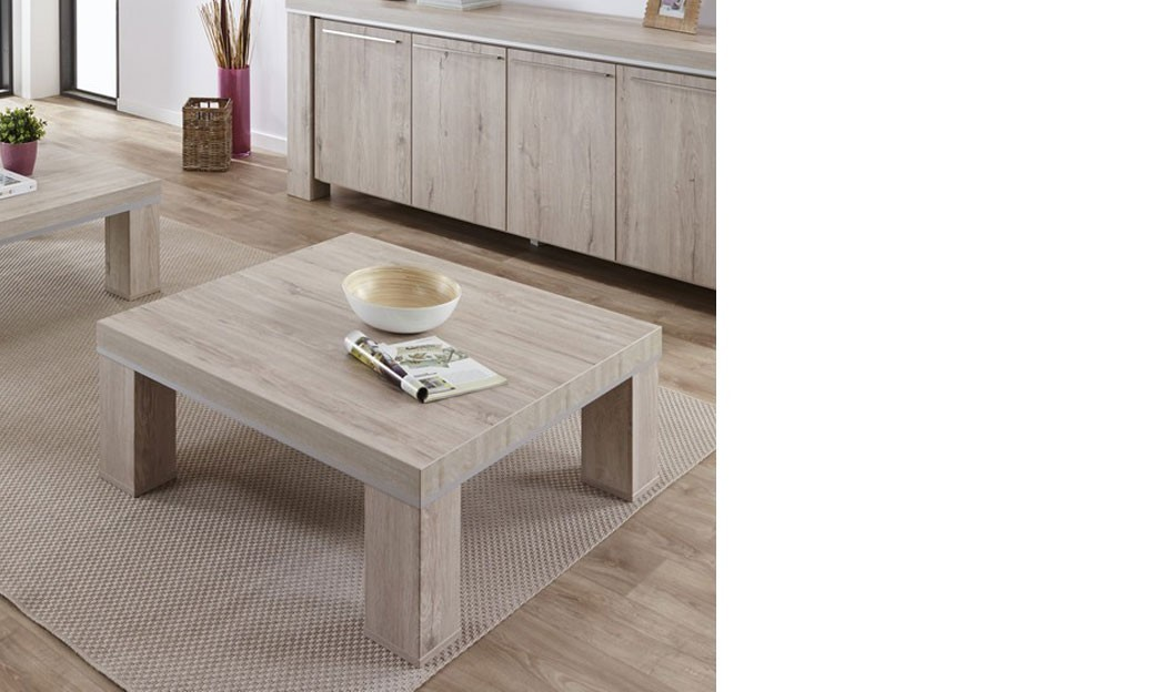 Table basse carr e contemporaine couleur ch ne gris nati - Table carree chene clair ...