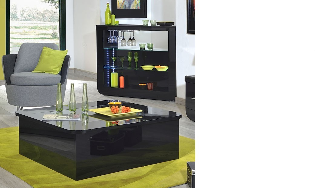 Table basse carrée noire laqué design option LED DIXON
