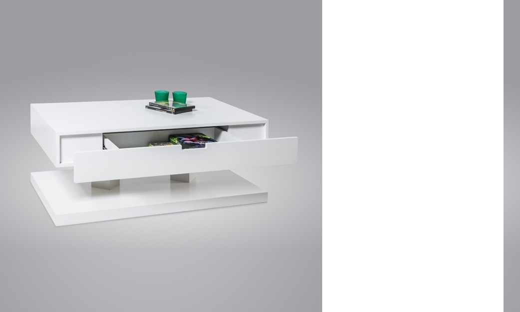 Table basse laqu e blanc avec tiroir table de lit - Table basse relevante ...