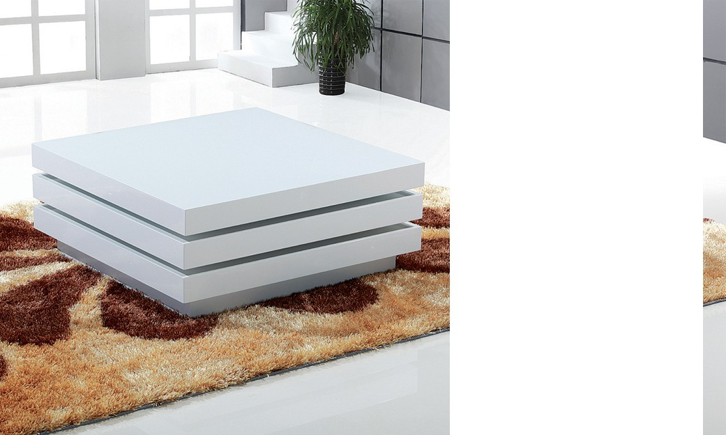 Table basse design blanc laqu bella - Table basse pour chambre ...