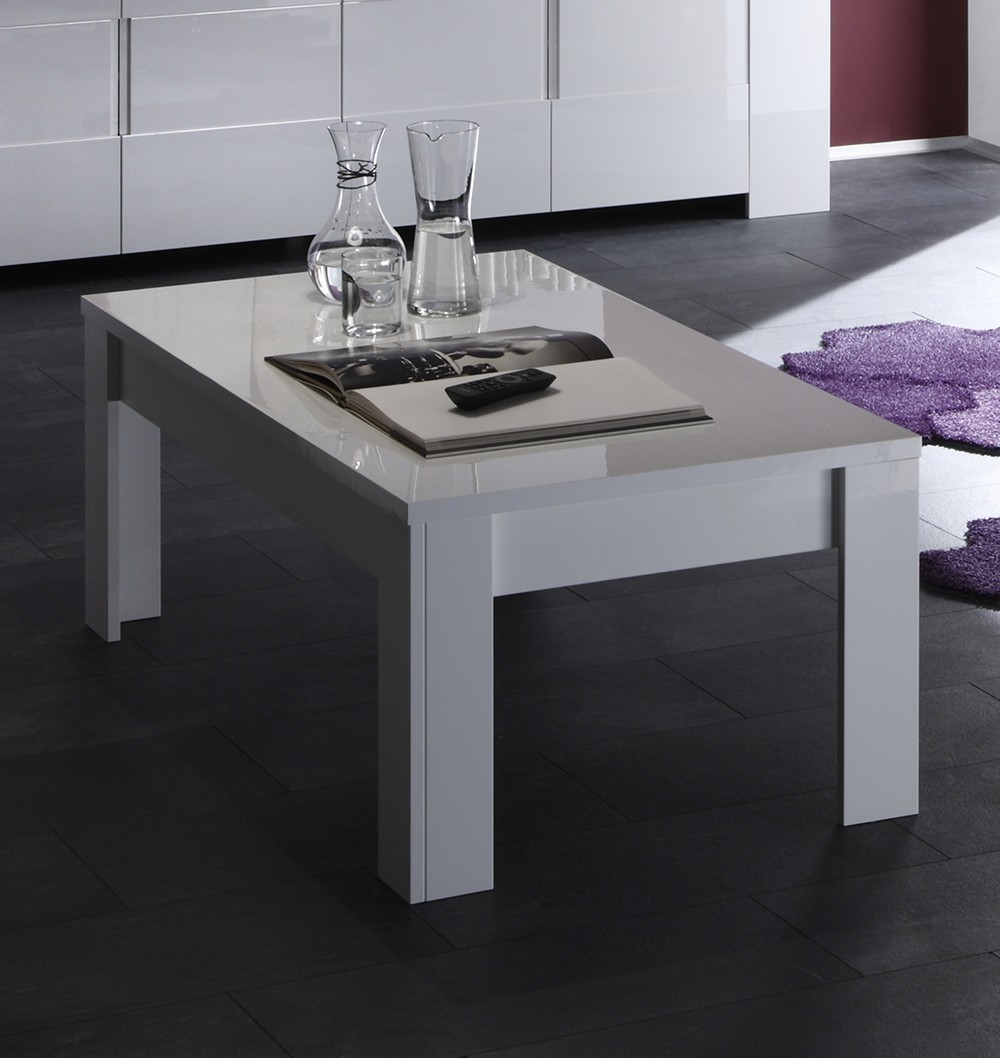 Table basse design blanc laque elios zd1 tbas d - Table basse blanc laquee pas cher ...