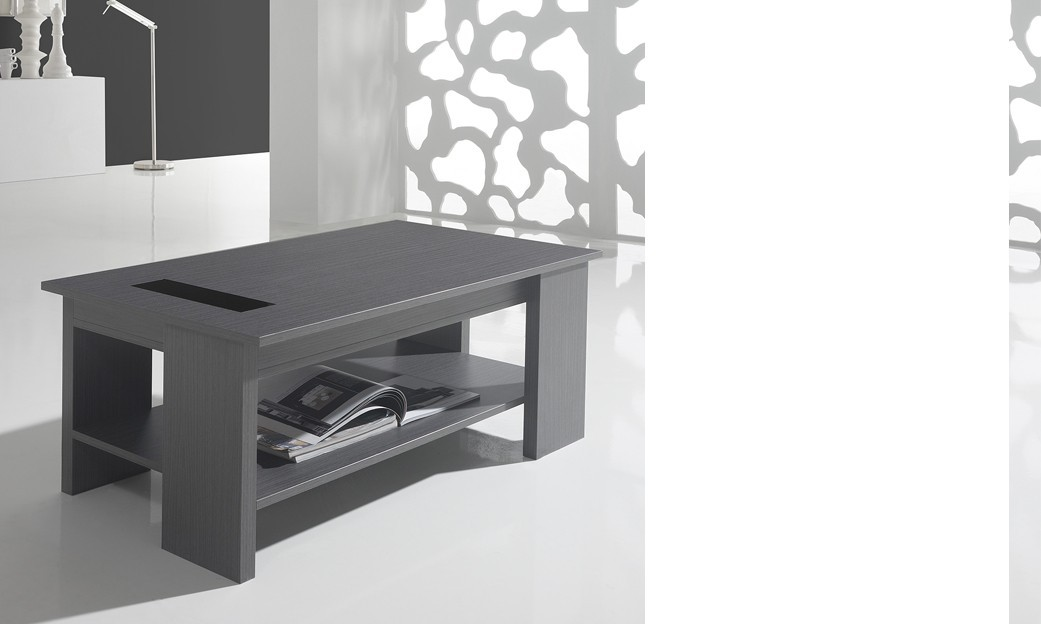 Table basse relevable contemporaine ADAM, coloris gris cendré
