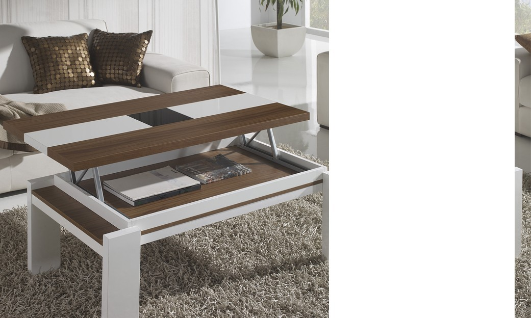 Table basse relevable contemporaine ALBANO, coloris Noyer & Blanc