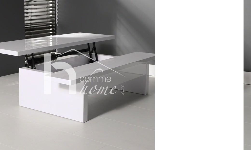 Table basse relevable design laquée blanche high gloss LEMPA