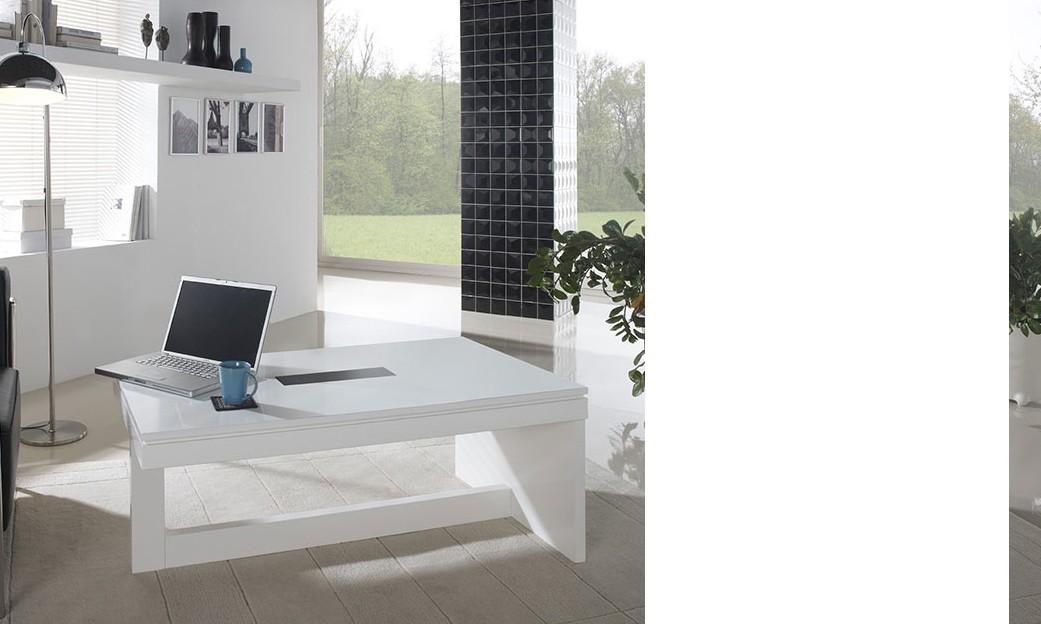 Table basse relevable design LUDJI, laquée blanche