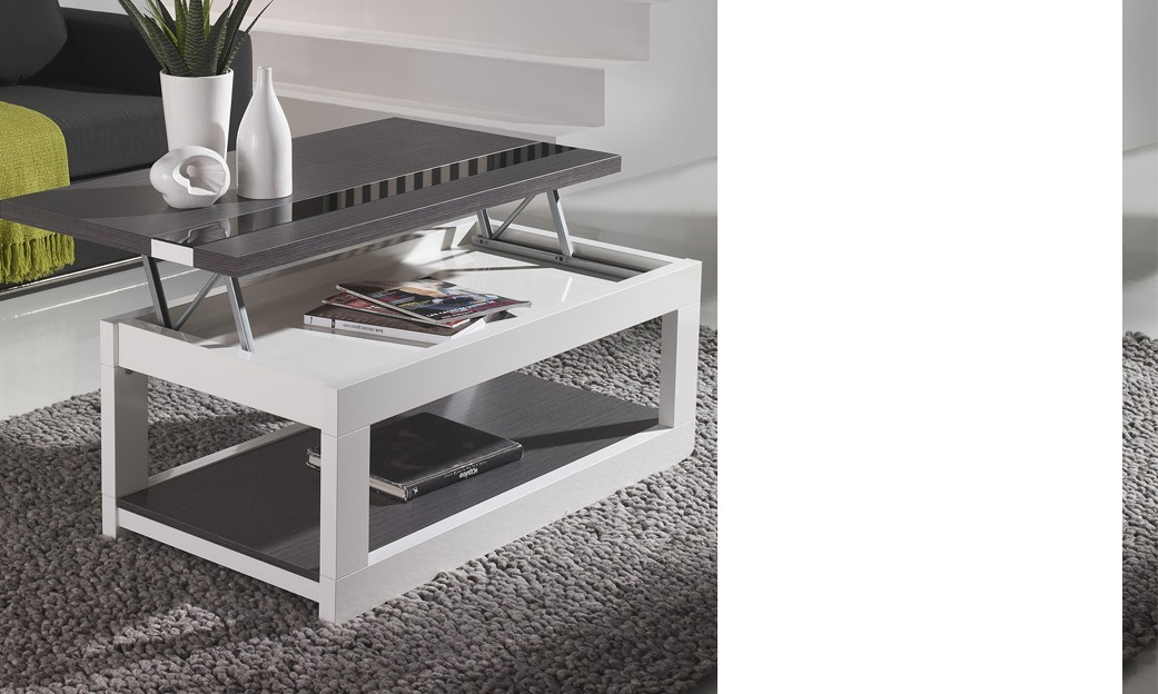 Table basse relevable contemporaine MARYLINE, disponible en 2 coloris