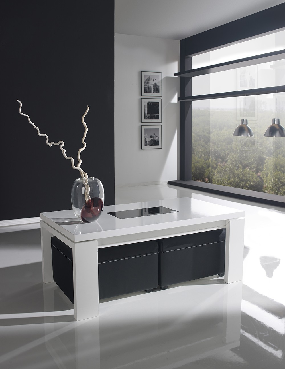 Table basse relevable newport zd1 tbas r d - Table en verre avec pouf ...