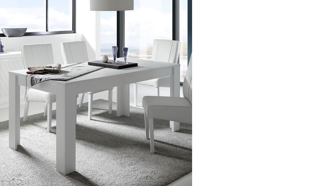 Table avec rallonge blanc laqu mat design aurora - Table blanc laque rallonge ...