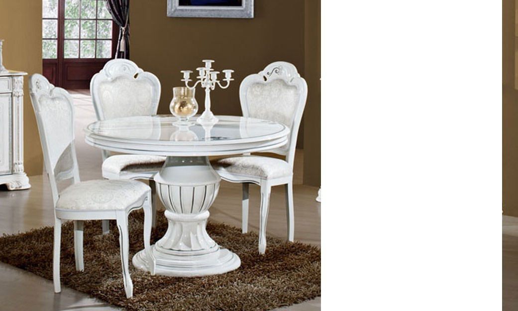 Table de salle manger ronde laqu blanc et finitions for Salle a manger italienne design