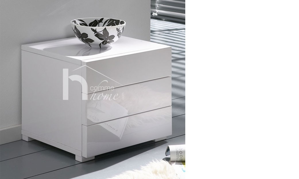 Table de chevet design blanc laqué brillant GLOMI