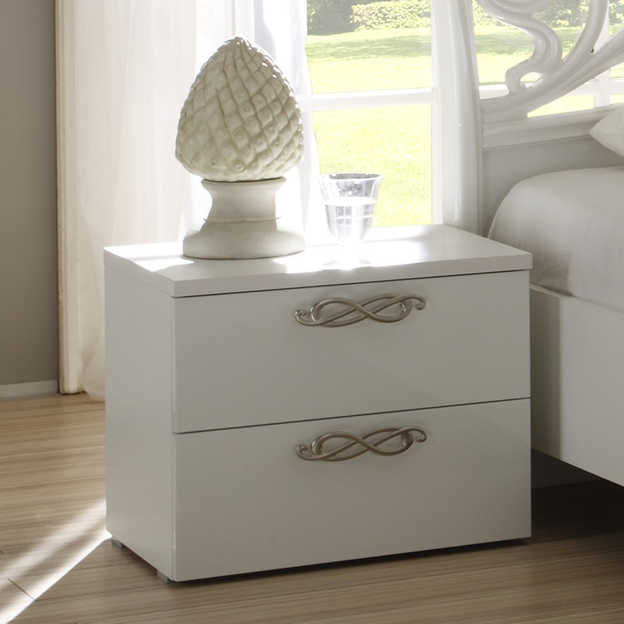 Table de chevet design laquee blanche infinity zd1 chv a d for Tabouret table de chevet