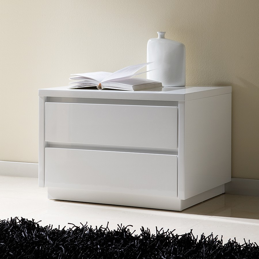 Table de chevet design laquee blanche tobia zd1 chv a d - Table de chevet design laque blanc ...