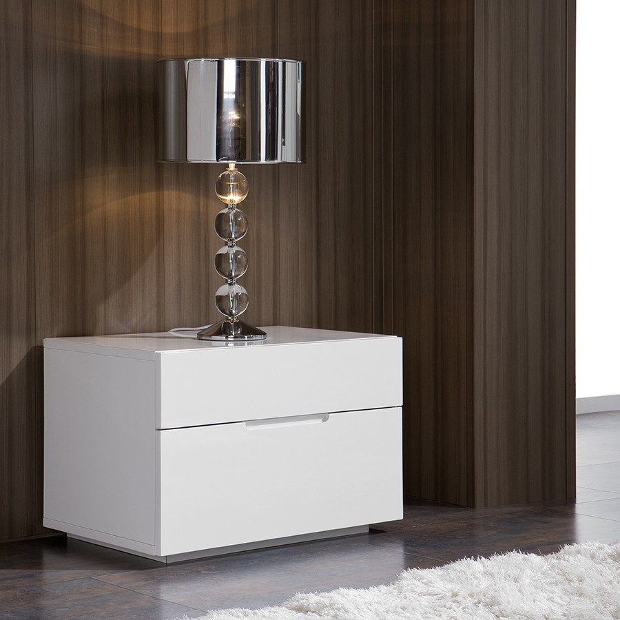 Table de chevet design laquee blanche urbano zd1 chv a d - Table de chevet laque blanc ...