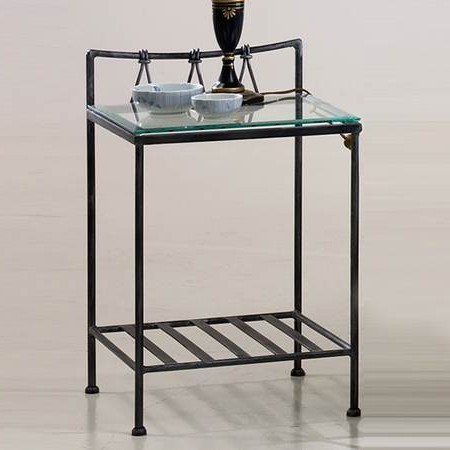 Table de chevet en fer forge clovis zd1 chv a ff - Table de chevet fer forge noir ...
