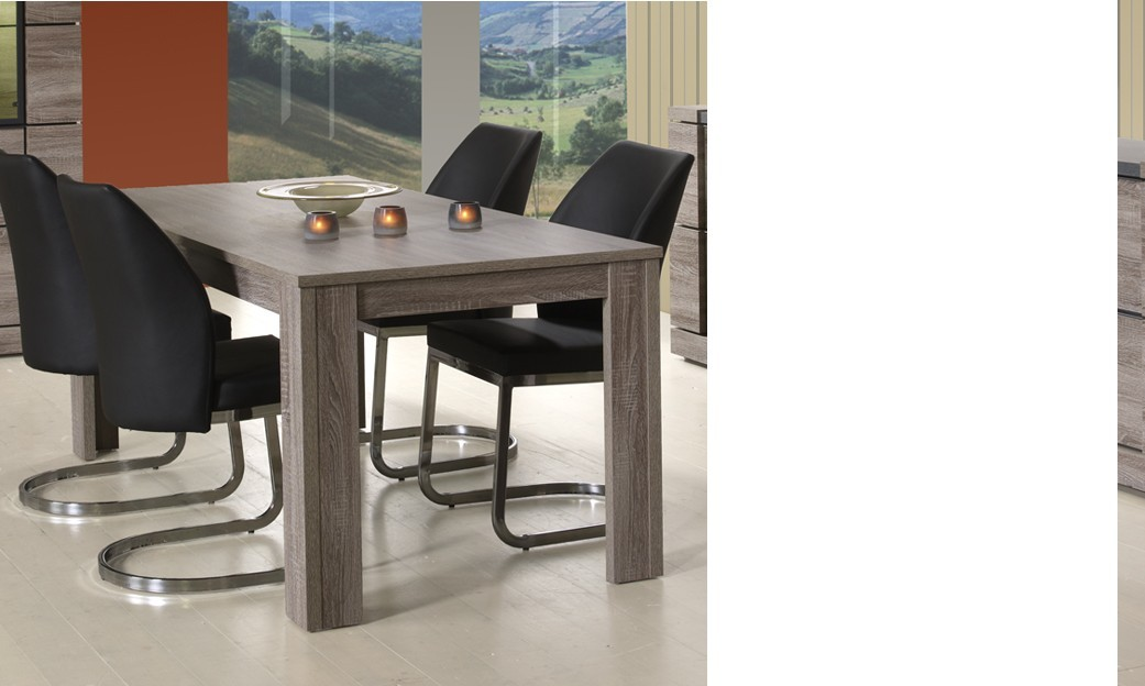 Table de salle à manger rectangulaire contemporaine KETTY, coloris chêne truffier