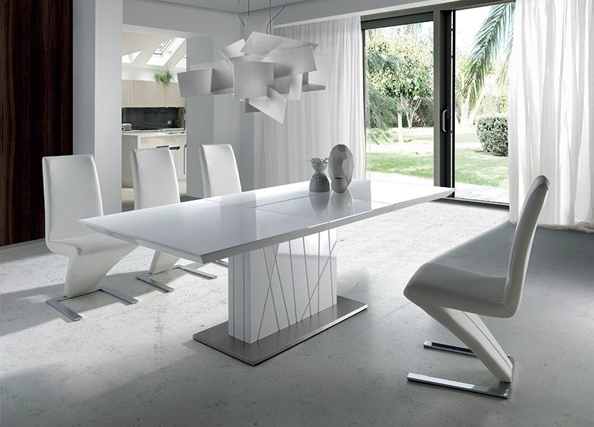 Table design blanc laque hera zd1 tab r d - Table carree blanc laque avec rallonge ...