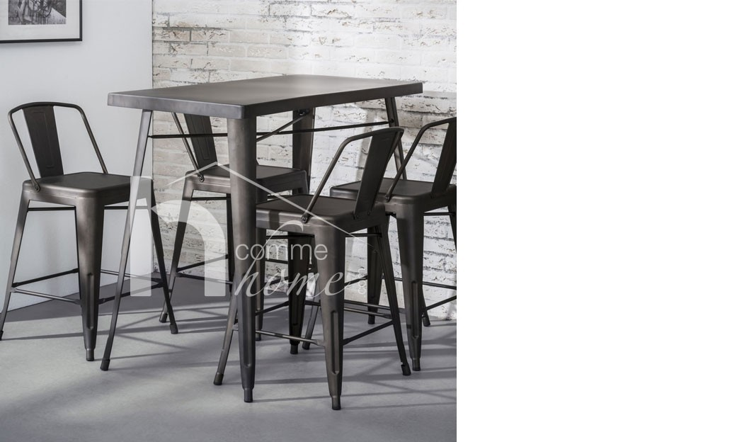 table bar industrielle en acier bistrot. Black Bedroom Furniture Sets. Home Design Ideas
