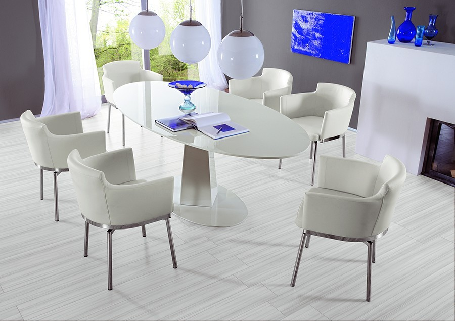 Table ovale blanc camelia zd1 tab 0 d - Table design salle a manger ...