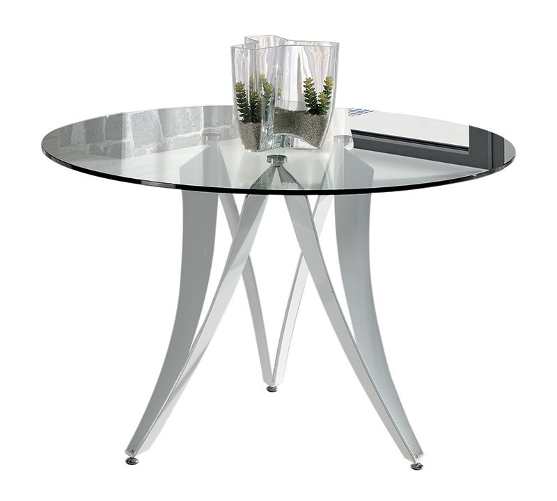 table de salle a manger design ronde laize plateau en verre transparent et pietement metal blanc laque high gloss