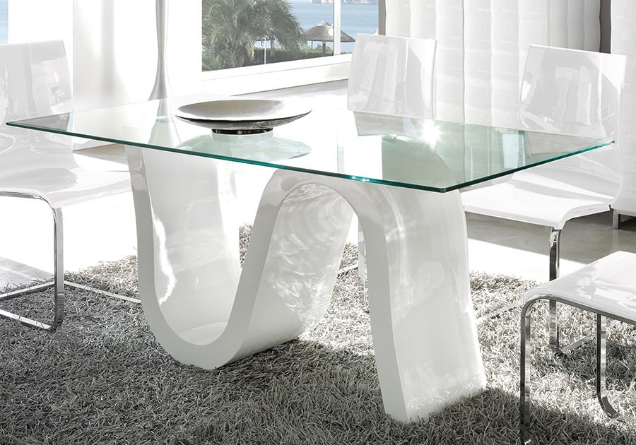 Table verre design corona zd1 tab r d - Table en verre trempe blanc ...