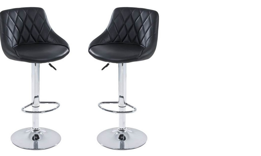 Lot de 2 Tabourets de bar design ACHILLE, coloris Noir