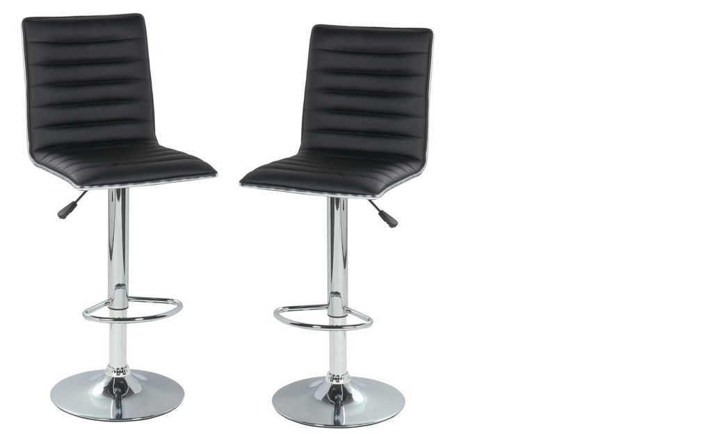Lot de 2 Tabourets de bar design ICARE II, coloris Noir