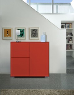 Argentier-bar 2 portes - 2 tiroirs design TRENDY ROUGE