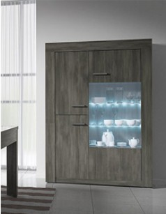 Argentier-vaisselier contemporain 3 portes PURGIA 2, avec éclairage LED en option