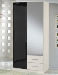 armoire chambre 2 portes et 2 tiroirs blanc et laqu noir. Black Bedroom Furniture Sets. Home Design Ideas