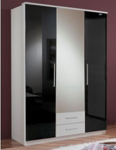 armoire chambre 3 portes et 2 tiroirs blanc et laqu noir. Black Bedroom Furniture Sets. Home Design Ideas