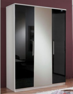 armoire chambre 3 portes blanc et laqu noir emeline. Black Bedroom Furniture Sets. Home Design Ideas