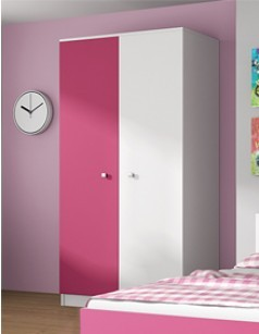 armoire enfant contemporaine 2 portes maelys coloris rose. Black Bedroom Furniture Sets. Home Design Ideas