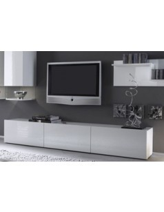 banc tv design laqu blanc madere. Black Bedroom Furniture Sets. Home Design Ideas