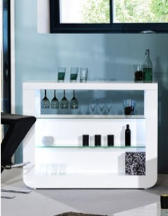 Bar blanc laqué design LED en option DIXON 2