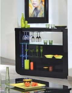 Bar noir laqué design LED en option DIXON