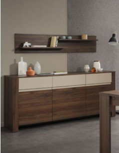 Buffet bahut contemporain couleur noyer et beige BRICE