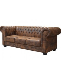 Canapé chesterfield marron vieilli de salon CITIZEN